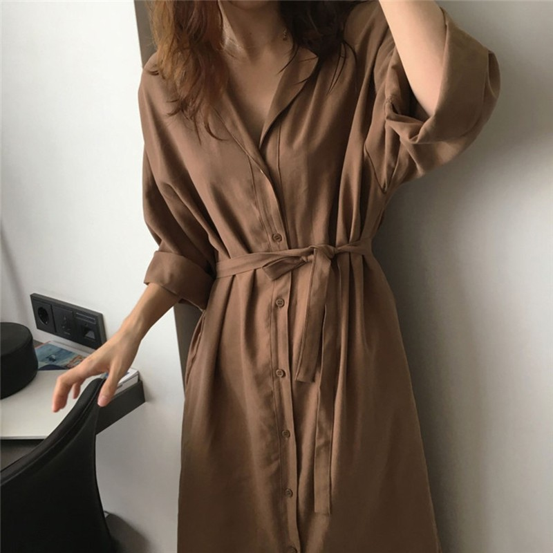 Summer Long Sleeve Single Breasted Coat Long   Trench   Women Turn-down Collar   Trench