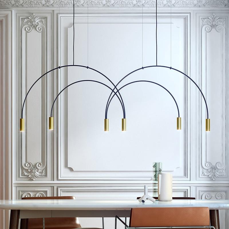 Post-modern curve chandelier showroom restaurant bar geometric line creative window arch for kitchen light