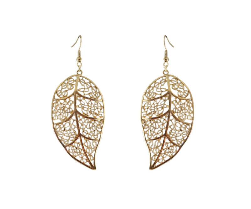 Fashion Jewelery New Coming Wholesale Zinc Alloy Gold hollow leaves exaggerated earrings for Women