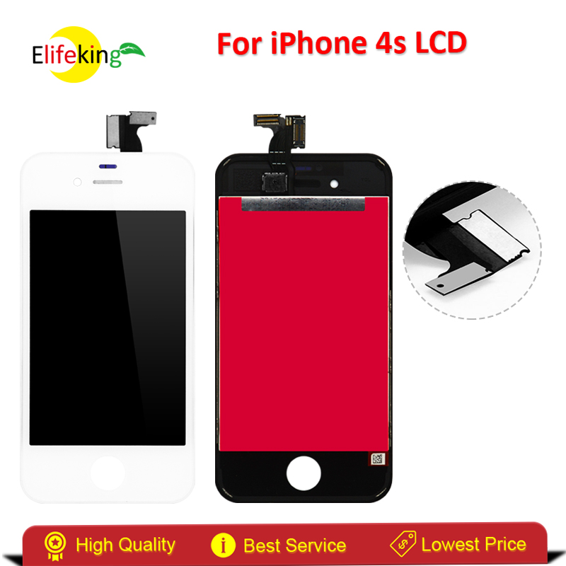 Elifeking 100% New Black/White Color For iPhone 4S Touch Screen Digitizer Glass Display Assembly Replacement With Free Shipping 1 pcs for iphone 4s lcd display touch screen digitizer glass frame white black color free shipping free tools
