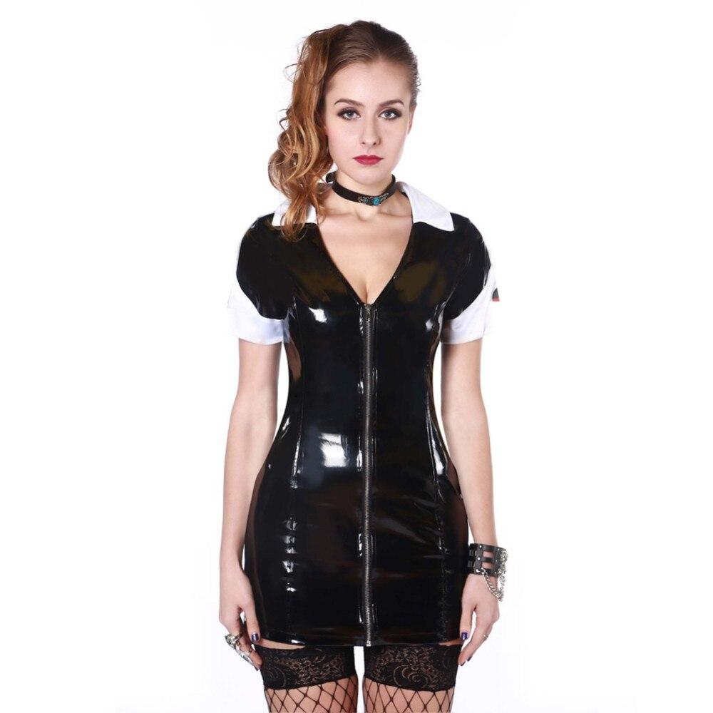 Vocole Sexy Frauen Krankenschwester Cosplay Pvc Wet Look -8544