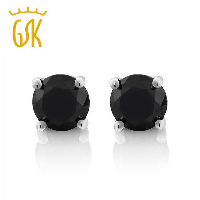 Gemstoneking Diamond Jewelry Solid 14k White Gold 0 75ctw Round Natural Black Stud