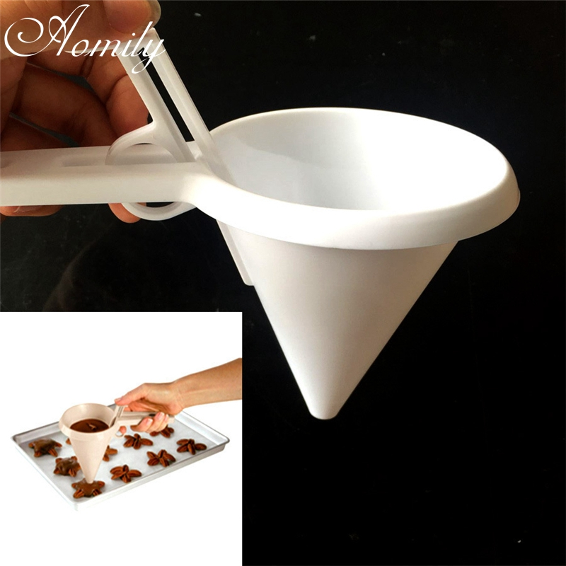 Aomily Plastic Manual Batter Dispenser Cake Funnel Cookies Chocolate Making Mold Eggs Tart Tools Maker Bakeware Kitchen Tools