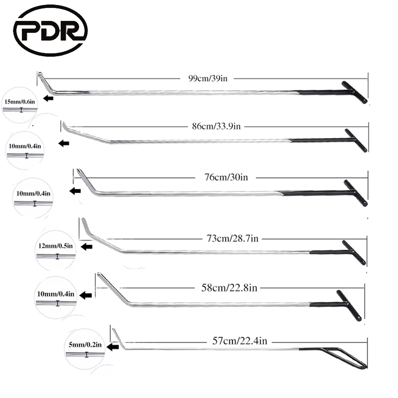 PDR Tools Rods Hooks Spring Rod Kit Paintless Dent Removal Car Dent Repair Auto Repair Tool Set Door Dent Ding Hail Removal New pdr rod tool kit set door ding repair hail damage repair with with 9 heads aluminum tap down dent hammer paintless dent removal