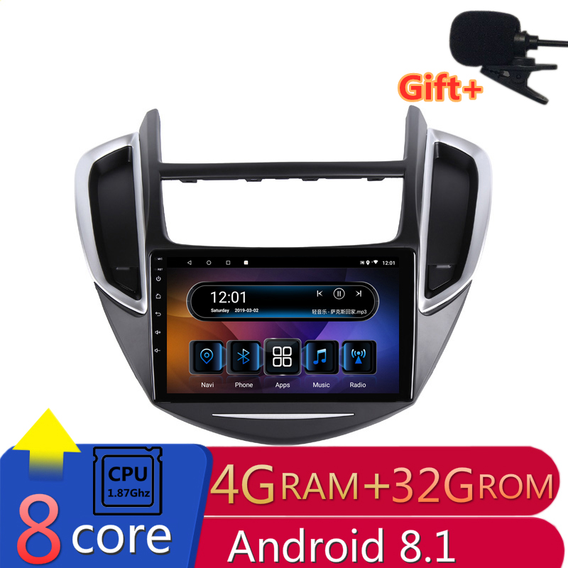 "9"" 4G RAM 2.5D IPS 8 CORE Android 8.1 Car DVD Multimedia Player GPS for Chevrolet TRAX 2013 2014 2015 audio radio navigation"