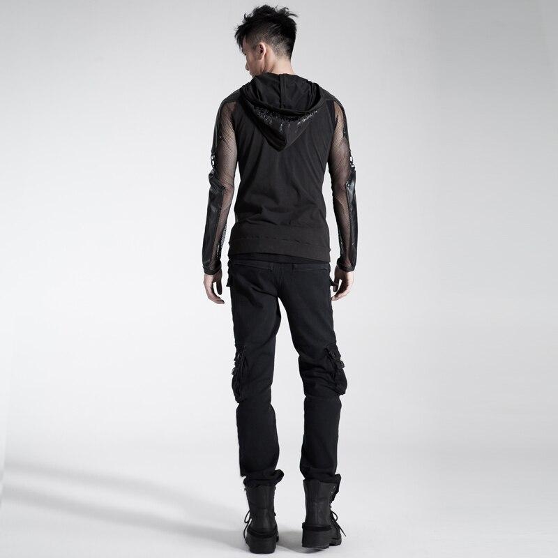 2018 hommes personnalité Punk sac à double fermeture éclair pantalon Rivet ample salopette noir avec ceinture chaussures décontractées pour homme - 5