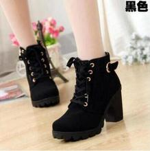 The new Autumn Winter Women Boots High Quality Solid European Women's Shoes Sandals PU leather fashion boots Free Shipping
