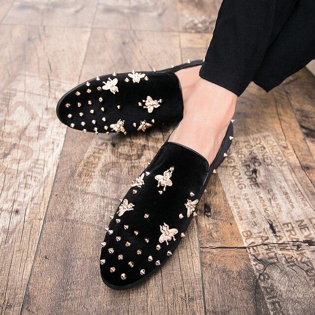 Neue Mode Gold Top und Metall Kappe Männer Samt Kleid schuhe italienische herren kleid schuhe Handmade Loafers