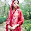Новый национальный ветер вышитые цветы хлопка шарфы Женский литературный шарф шаль