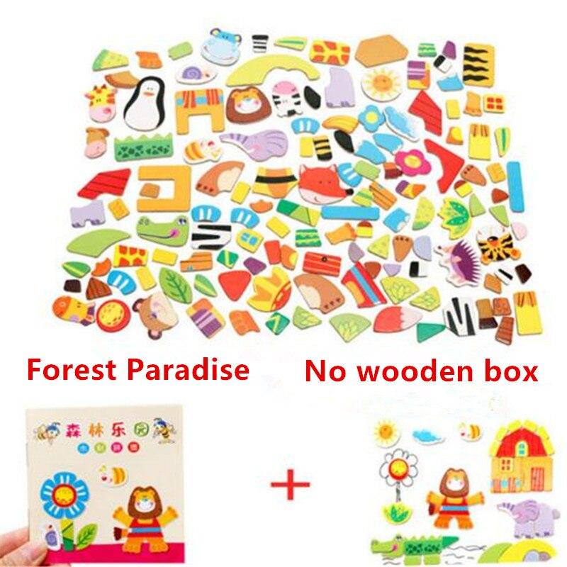Farm & forest & cartoon figura educacional quebra-cabeça desenho do bebê quebra-cabeças cavalete para crianças meninas animais de madeira brinquedos magnéticos