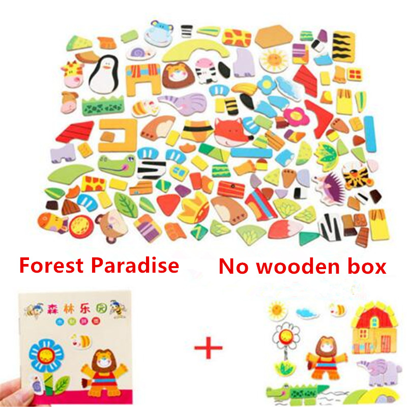 Farm&Forest&Cartoon Figure Educational Jigsaw Baby's Drawing Puzzles Easel for Children Girls Animal Wooden Magnetic Puzzle Toys mylb educational farm jungle animal wooden magnetic puzzle toys for children kids jigsaw baby s drawing easel board