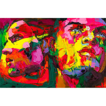 Hand Painted Abstract Nielly Francoise Knife Palette Picture Modern Pop Art Oil Paintings Art Wall Decoration Cool Face Fine Art