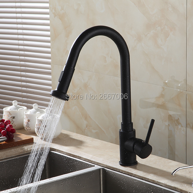 GIZERO Free Shipping Modern New Black Paint Kitchen Faucet Pull Out Single Handle Swivel Spout Vessel Sink Mixer Tap ZR356 одежда для занятий баскетболом pampas b5280