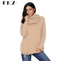 FKZ Fashion Women Winter Sweater Long Sleeve Turtleneck Casual Knitted Clothing 6 Colors Pull Femme Sweaters