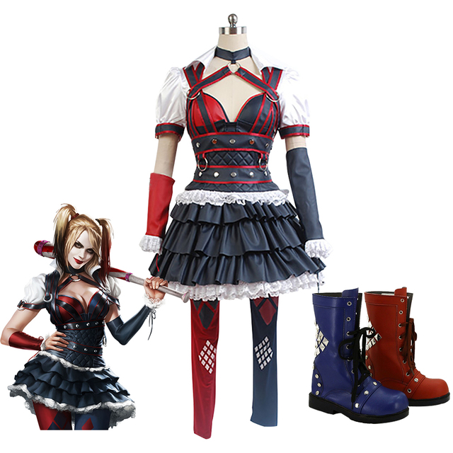 b8102f79cc3ee US $89.0 |Batman Arkham Knight Harley Quinn cosplay costume Carnival  Christmas Halloween costumes women sexy costume Harley quinn costume on ...