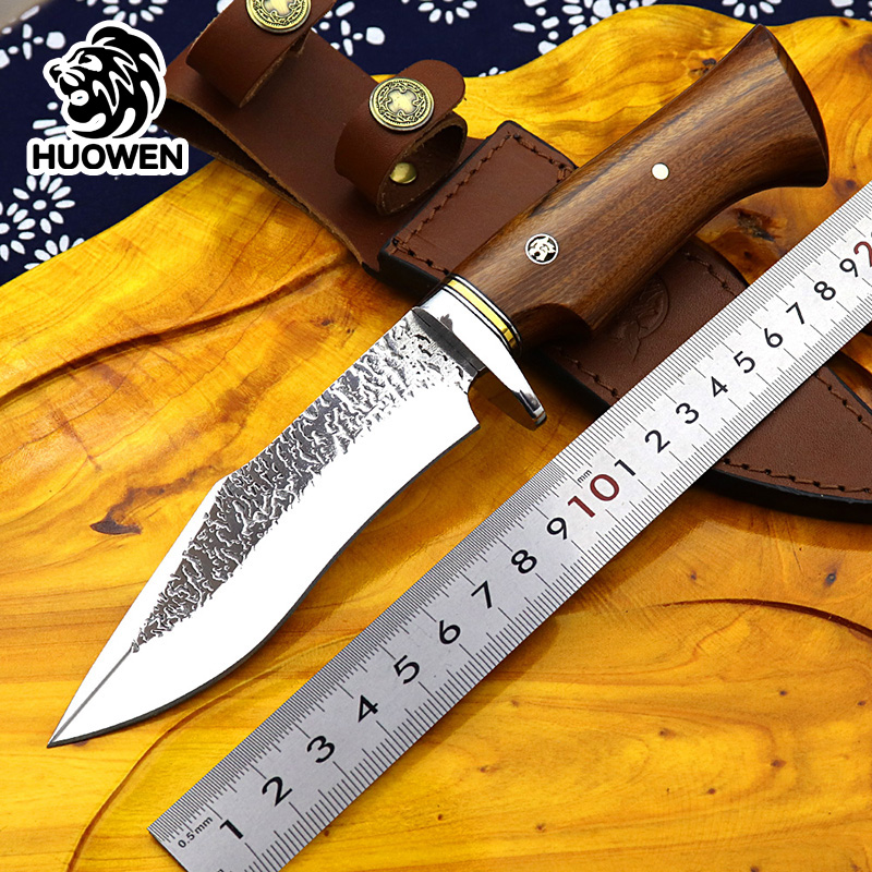 High quality custom hunting knives outdoor Bowie knife survival Combat Sharp AUS8 steel fixed blade Bushcraft