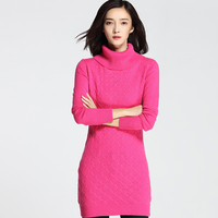 2017 New Fashion Women Thick Twist Turtleneck Cashmere Pullovers Knitted Solid Regular Long Sweater Dress MK16015