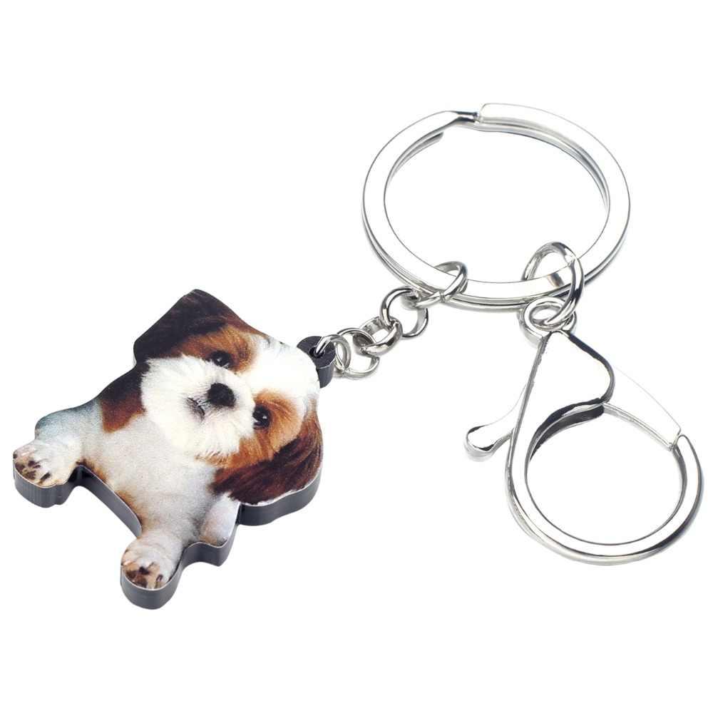 Bonsny acrílico dulce chino Shih Tzu perro llaveros llavero anillo lindo Animal joyería para mujeres niñas bolso coche monedero regalo de encantos