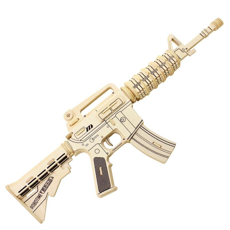 Hot Robotime 3D Wooden Puzzles M4 Gun Model Kits JZ403 Diy Building Block Jigsaw Toy For Kid Christmas Gift