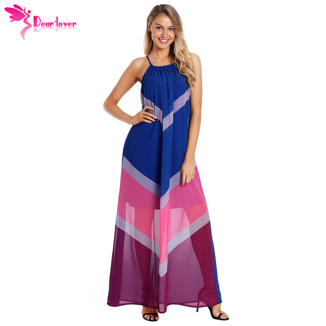 Dear Lover Beach Long Vestidos Boho Dresses Summer Blue Chevron Color Block  Halter Neck Loose Maxi Dress Plus Size XXL LC610090 639df5d6ea9a