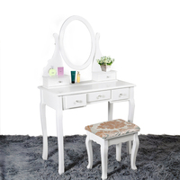 Wooden Dressing Table Makeup Desk With Stool Oval Mirror 5 Drawers White Pine HOT SALE
