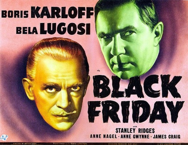 Boris Karloff with Lugosi Black Friday Horror Movie Film Retro Vintage Kraft Poster Canvas Painting Wall Sticker Home Decor Gift
