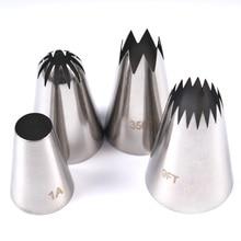 4 قطعة كبيرة الجليد الأنابيب فوهة الروسية المعجنات نصائح الخبز أدوات الكعك الديكور مجموعة الفولاذ المقاوم للصدأ Nozzles كب كيك
