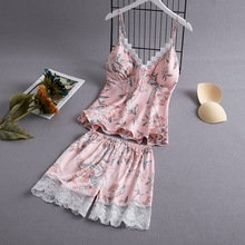 Daeyard Silk Pajamas For Women Overall Print Floral Pijama With Shorts Summer Sexy Lace Fringe Sleepwear 2Pcs Pj Set Home Suit girls floral print cami top with fringe shorts