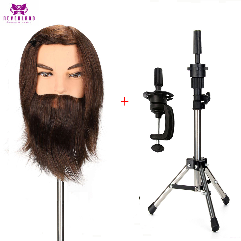 Male Beard Training Mannequin Head With Hair Stand Deep Brown 100 Real Human Hair Men Wig Head Model For Cutting Hairdressing