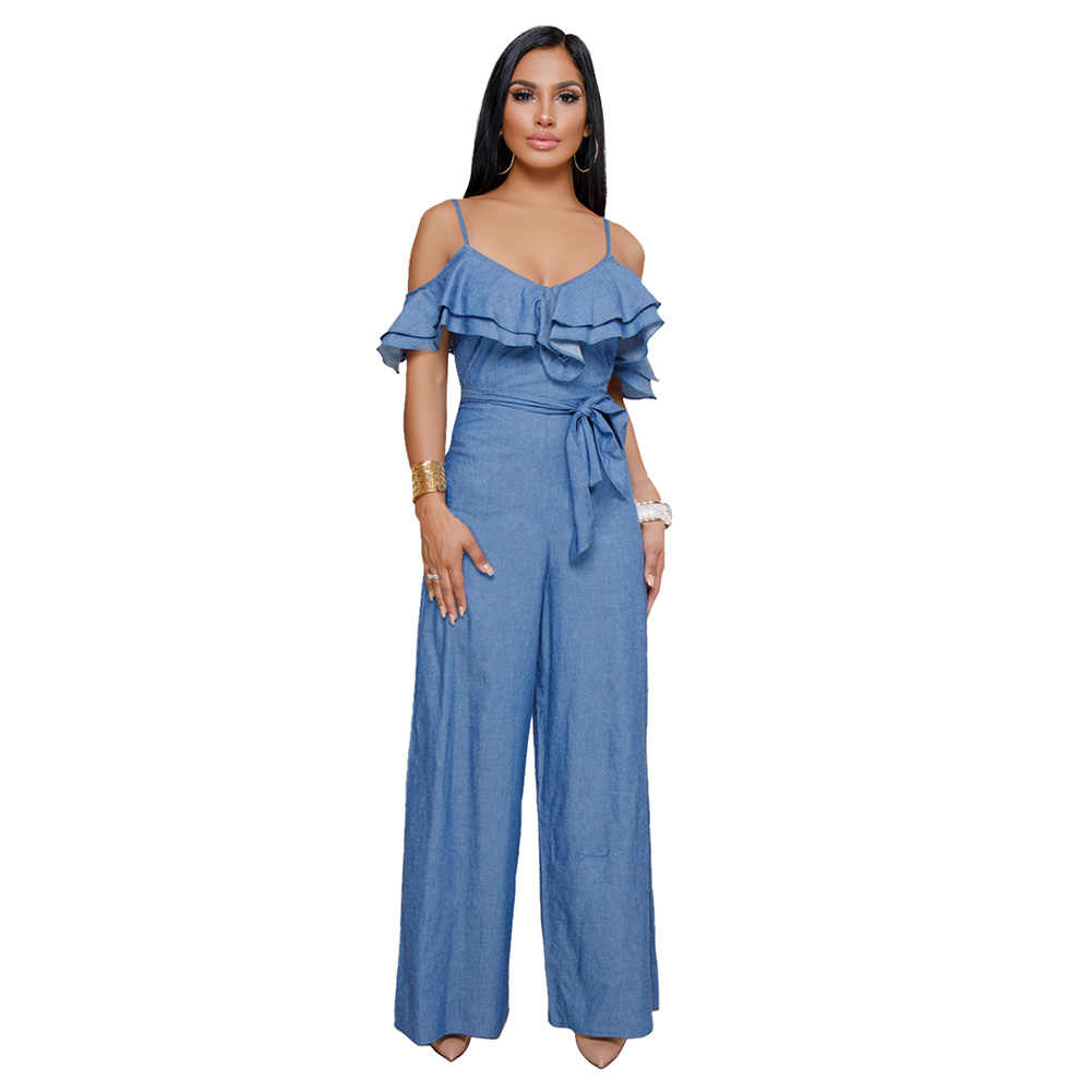 8e61dbe30061 Women Ruffles Cold Shoulder Straps Denim Jumpsuit for Women Sashes Zipper  Wide Leg Pants Suspenders Female