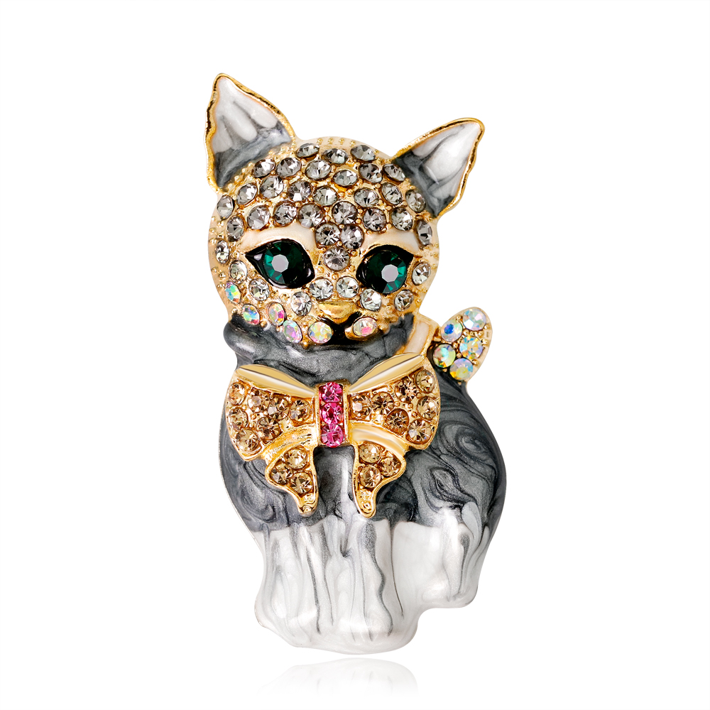 New Cute Little Rhinestone Cat Brooches Pin Up Jewelry for Women Suit Hats Clips Corsages Brand Bijoux Brooch and Pins DR-AG204