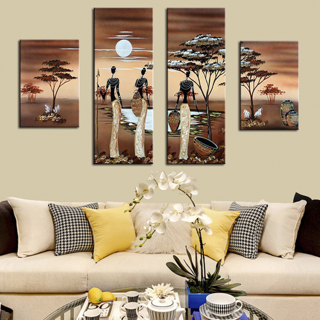 4pcs Abstract African Landscape Oil Painting Handpainted African Women Wall  Pictures For Living Room Canvas Art
