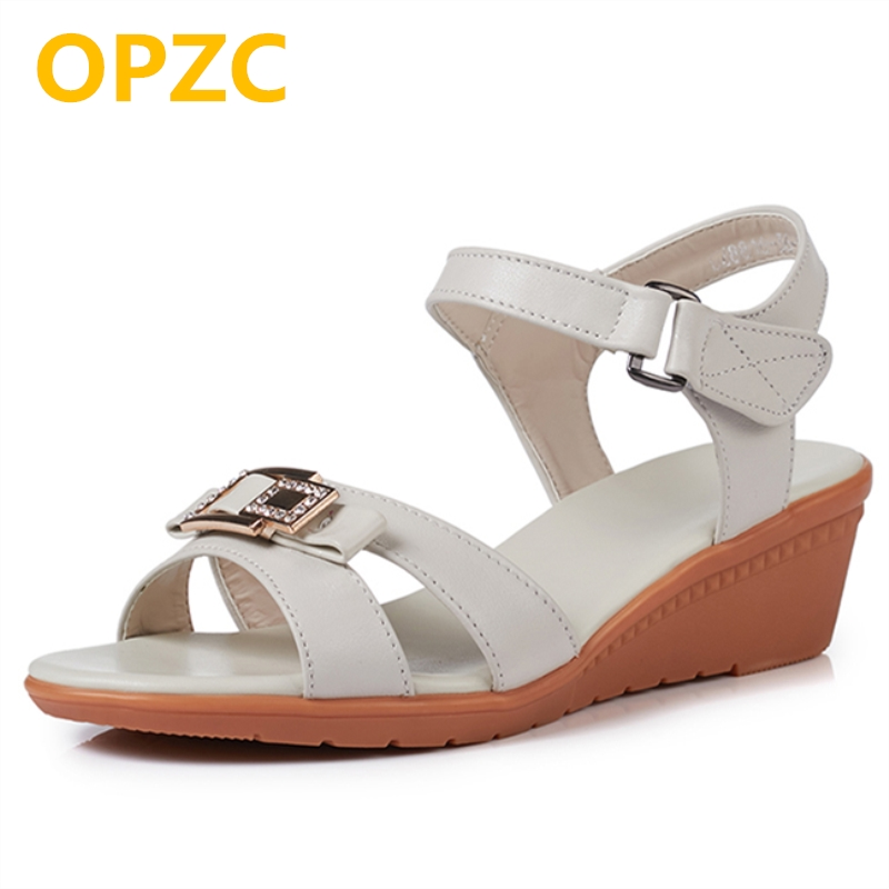 OPZC 2018 new summer shoes and sandals for women genuine leather wedges women's sandals big size 41 42 43 Four-color shoes Mum mmnun 2017 boys sandals genuine leather children sandals closed toe sandals for little and big sport kids summer shoes size26 31