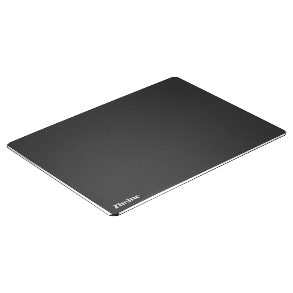 Zheino Mouse Pad Aluminium Smooth Surface with Non-slip Rubber Base for Computers Laptops Notebook Black and Silver