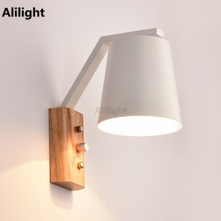 Us 97 99 Creative Wood Iron Wall Lamp Sconce Band Switch Modern Led Light Fixtures For Bedroom Reading Study Home Indoor Lighting In