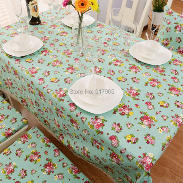 Cute White Polka Dot Table Cloth Elegant Western Country Style Pink Rose  Print Table Cover Desigenr