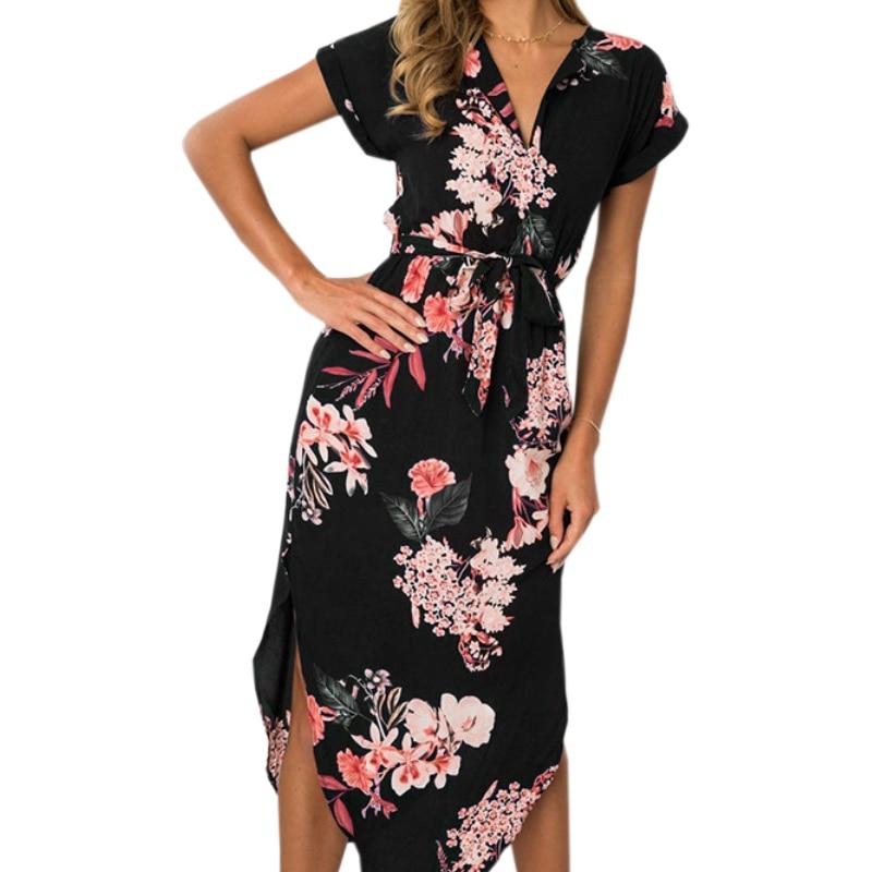 3XL Fashion Irregular Dresses 2018 Long Beach Sundress Loose Summer Print Dress V-neck Short Sleeve Women Party Dresses GV386
