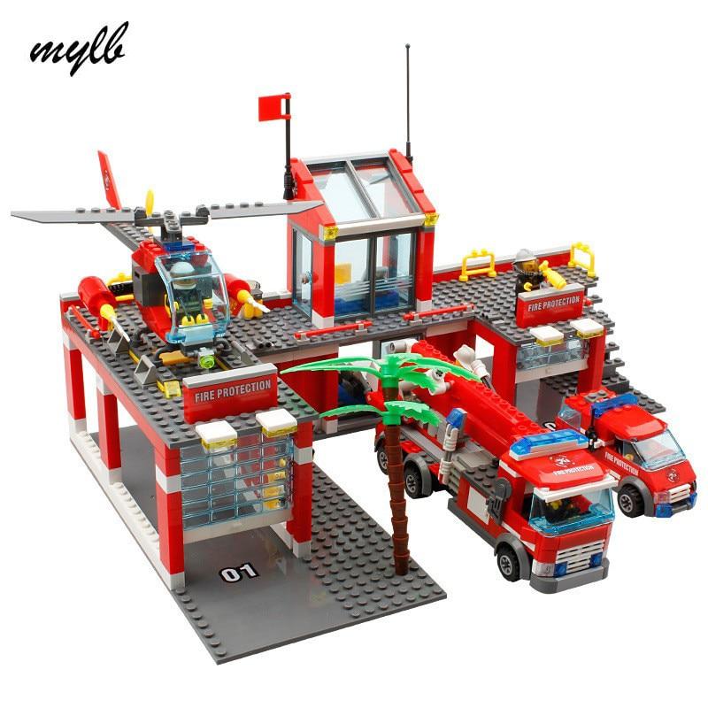 Mylb nova estação de bombeiros cidade 774 pçs/set blocos de construção diy tijolos educativos crianças brinquedos compatíveis com legoe melhor crianças presente natal