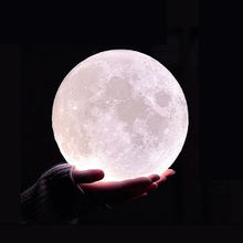 10 Levels Dimmable 3D Print LED Moon Lamp Rechargeable RGBW Creative Night Light Kid Birthday Gifts Bedroom Holiday Bar Decor(China)