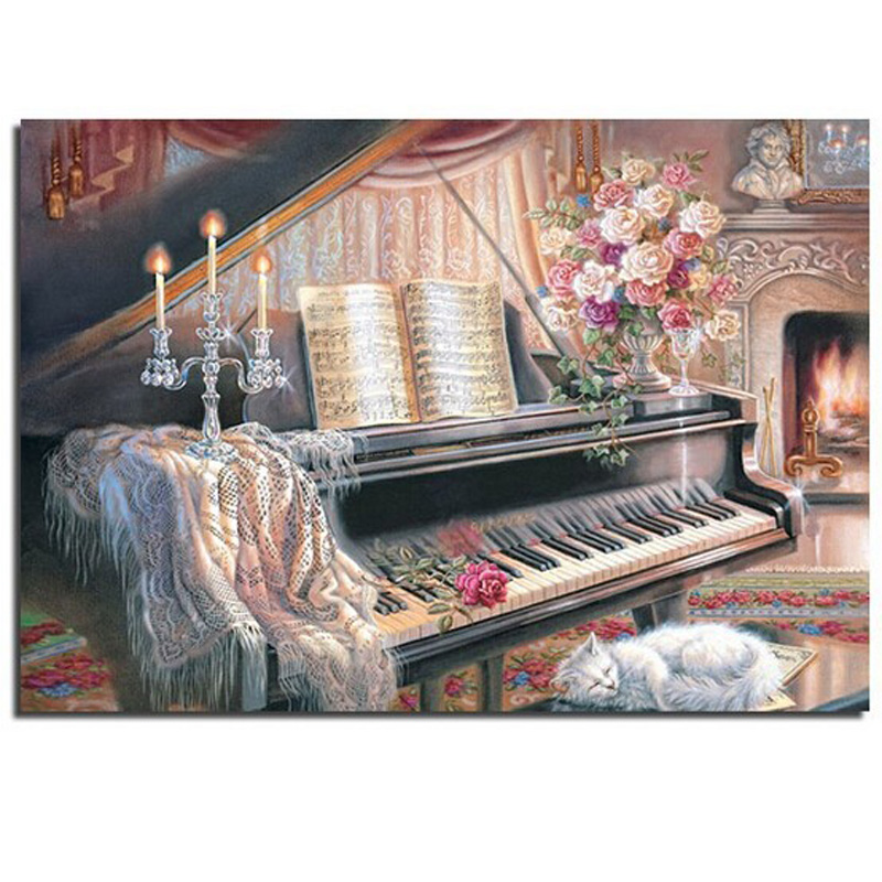 2017 New Piano 5d Rhinestones Diy Mosaic Diamond Painting Cross Stitch Kits Square Drill Resin Diamond Embroidery Free Shipping To Reduce Body Weight And Prolong Life