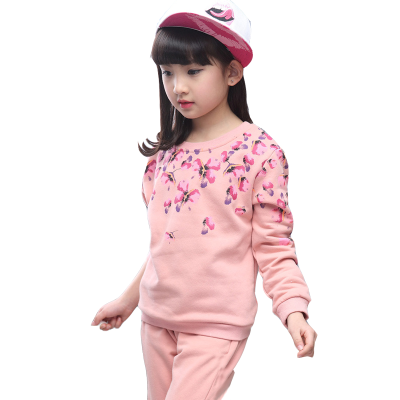 2017 autumn 12 year old girl long sleeved suit girl two piece kids clothing set baby girl clothes children coat pants teenager 2017 autumn girl doll shirt the fashionable two piece set of pure color lotus leaf coat with harness sets tide