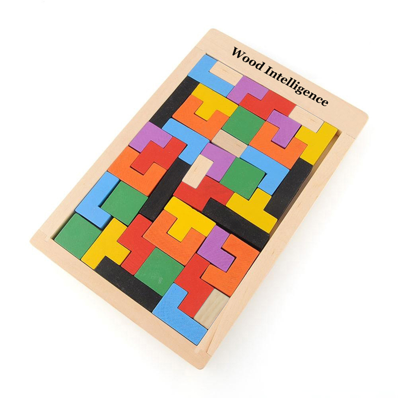 2016 Children Wooden Puzzles Toy Tetris Game Educational Tangram Brain Teaser Puzzle Toys Kid Jigsaw Board Toy Gifts metal puzzle iq mind brain game teaser square educational toy gift for children adult kid game toy