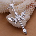 2015 New Fashion Cross Pendant Necklace For Men Charm Wings 925 Silver Beauty Necklaces Mens Jewelry joyas de plata Cruz N289