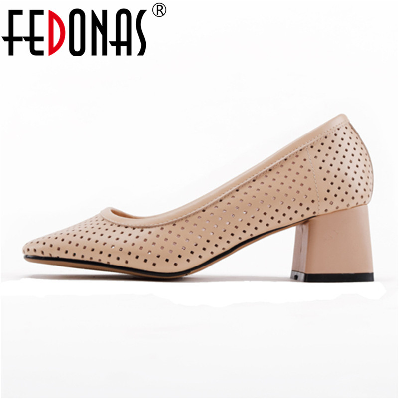 FEDONAS Fashion Women Working Party Genuine Leather Spring Autumn Concise Shoes Vintage Fretwork Brand Shoes Woman