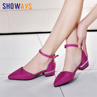 Summer Women Pumps 3cm Low Block Heels Suede Pointed Toe Purple Grey Office Party Crystal Ankle Strap D'Orsay Hollow Lady Shoes
