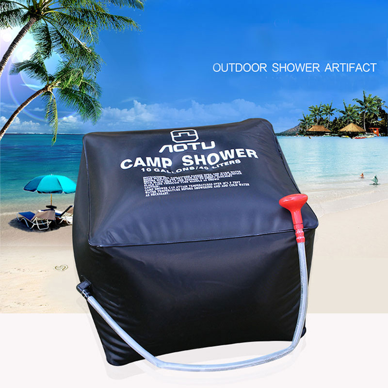 New 40L portable Solar Energy Heated Camp Shower Bag Outdoor Camping Hiking Utility Water Storage PVC Black Shower Water Bag