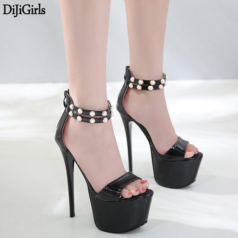 Noir Talons 17 cm Sexy Femmes Chaussures D'été Femmes Gladiateur Plate-Forme Chaussures Mode Stiletto Haut Talons Sandalia De Vestir Mujer