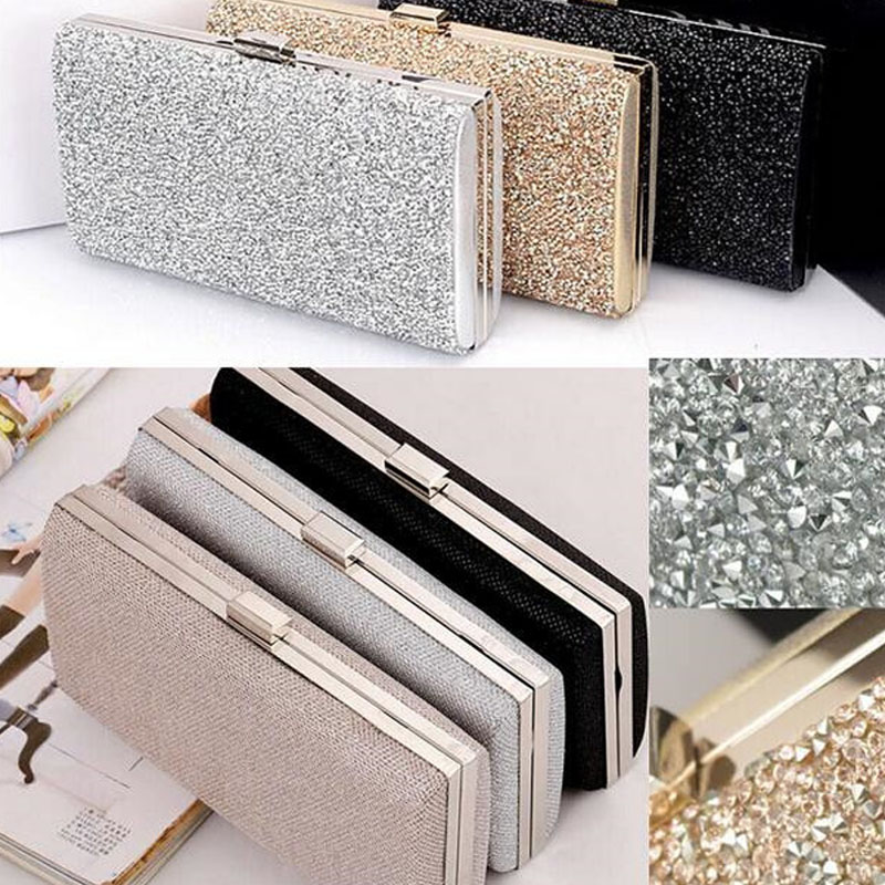 Sequin Clutch Wedding-Purse Two-Chain Diamond Silver Party Female Evening Black/gold