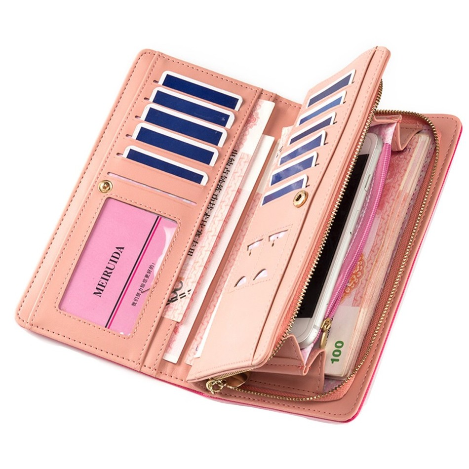 Women's Long Purses Large Capacity Multifunction Snaps Button Zipper Cross Embossed Mobile Phone Bit Card Holder Clutch Wallets manager folders with 4000mah mobile power multifunction cument holder manager holders office supply work accessories