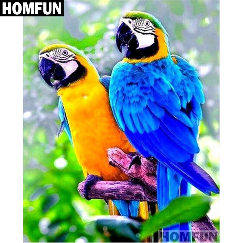 """HOMFUN полная квадратная/круглая дрель 5D DIY Алмазная картина """"Животное попугай птица"""" вышивка крестиком 3D домашний Декор подарок A01654"""